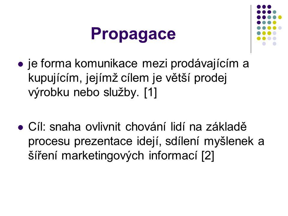 Propagace je forma komunikace mezi prodávajícím a kupujícím, jejímž cílem je větší prodej výrobku nebo služby. [1]